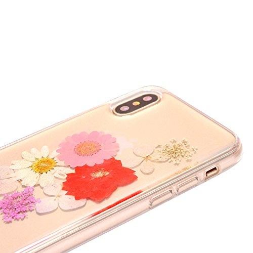 iPhone x Cristal Claro Funda, SXUUXB iPhone 10 Naturaleza Hecho a mano Colorido Real Secado Flor y Hoja Serie Patrón Híbrido Bumper Jelly Caja, TPU Caucho Gel UltraFina Skin Resistente a arañazos Prot Floral 9