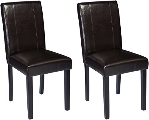 AmazonBasics Padded Dining Chair - Set of 2, (Armless Dining Set)