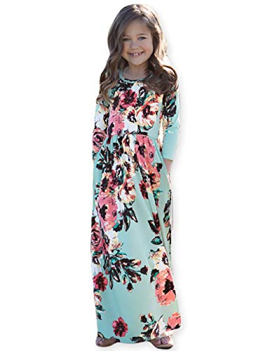21KIDS Girls Floral Flared Pocket Maxi Three-Quarter Sleeves Holiday Long Dress ,Green,10 Years -