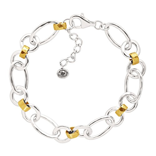 Bracelet Sterling Silver Artisan Link (Silpada Mixed Up' Sterling Silver and Brass Link Bracelet, 7