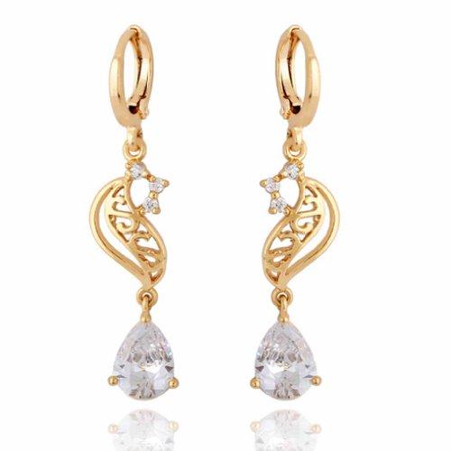 Yazilind Elegant Hollow Design 18k Gold Filled Inlay Teardrop Cubic Zirconia Dangle Drop Earrings