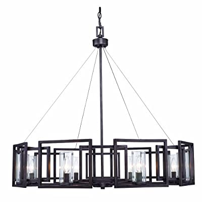 Golden Lighting 60688GMT Chandelier with Clear Glass Shades, Gunmetal Bronze Finish