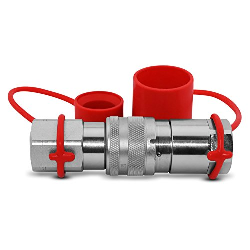 Flat Face High Flow Skid Steer Hydraulic Quick Connect Couplers/Couplings Set, 3/4'' Body x 3/4'' NPT, w/Dust Caps by Summit Hydraulics (Image #3)