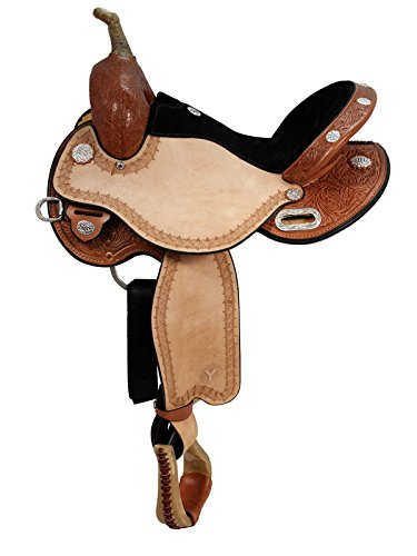 HorseSaddleShop Circle Y Kelly Kaminski Blaze Flex2 Barrel 1528 2454-4 14.5 inch, Black Suede Seat, Regular Oil, Regular Tree