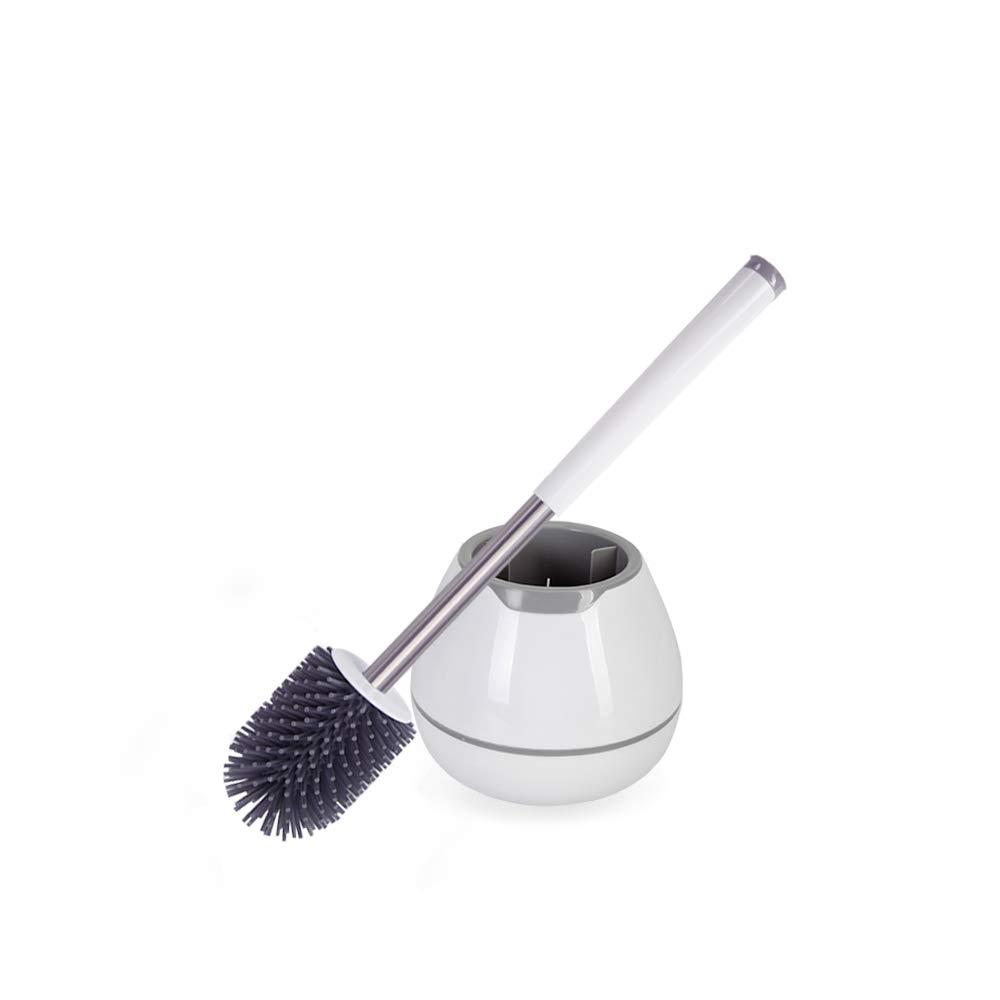 gris SHARKNIFE Juego de Escobilla de Ba/ño de Montaje en Sue/ño y Pared Escobillas de Ba/ño con Cerdas Suaves de Silicona de Secado R/ápido y Limpieza F/ácil-Blanco Cepillo y soporte para inodoro