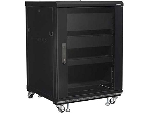 Sanus CFR2115-B1 15U Rack with Shelves and Blanks Black