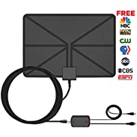 60Miles TV Antenna Indoor Amplified Channels - VinTV Upgrade Amplifier HDTV Antenna High Gain Reception Digital TV Antenna Long Range For 4K Free TV Signals with 12ft Coax Cable