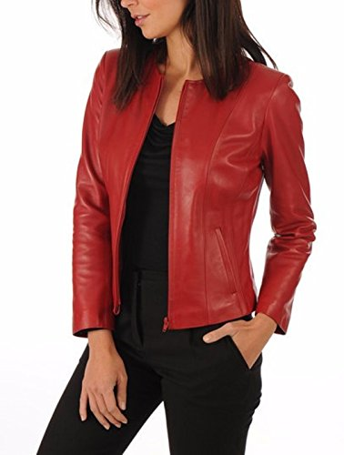 Excentoutwear Womens Leather Jackets Motorcycle Bomber Biker Real Leather Jacket Women X-Large Red