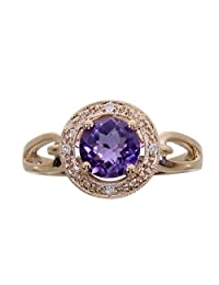 14k Rose Gold Amethyst Fashion Ring