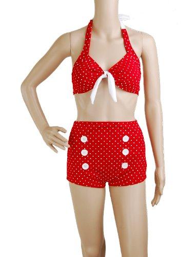 Bikini-Red-Polka-Dot-Retro-50s-Pin-up-Rockabilly-Vintage-Tie-Bow-Back-Halter-MOD-Womens-Swimwear-Size-L-Large