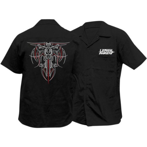Lethal Threat Pinstripe Biker Work Shirt (Medium) - Pinstripe Biker Shirt