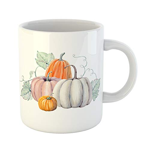 Emvency Coffee Tea Mug Gift 11 Ounces Funny Ceramic Green Halloween Pumpkins Watercolor Painting on Colored Vegetables Autumn Gifts For Family Friends Coworkers Boss Mug