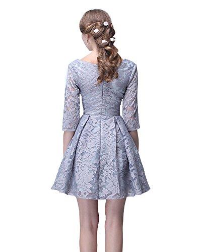 Grau Juwel Spitze Ärmeln Erosebridal kurze Kleid mit line A Brautjungfer pRROqwzx