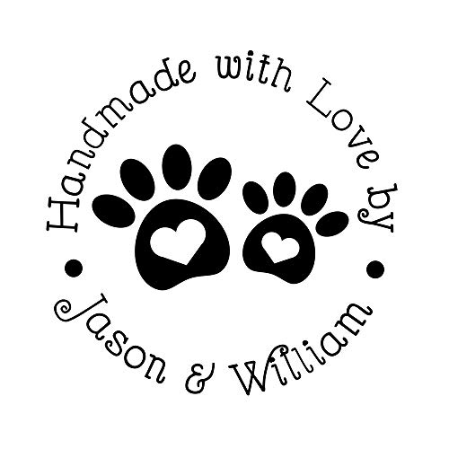 (Handmade with Love by Stamp Personalized Name Puppy Dog's Paw Heart Design Rubber)