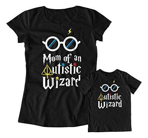 Matching Mother Son Shirts Autism Mom Family Autism Wizard...