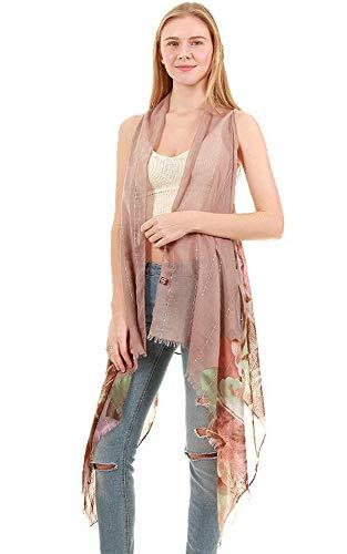 (Cotton Feel Floral Print Long Scarf Vest Tan)