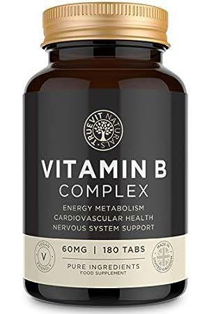Complejo de Vitamina B de Alta Resistencia, Acido Fólico Vitamina B1, B2, B3, B6, B12 y Biotina: Vegetariano y Vegano, 180 Tabletas: Amazon.es: Salud y ...