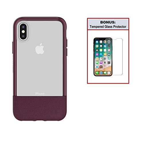Otterbox Exclusive Bundle: Ultra-Slim Case for iPhone X/Xs - Extreme Drop Protection - Premium Leather with Clear Design - Scratch Resistant - Wine + Bonus Clear Tempered Glass Screen Protector (Otterbox Statement Series Case For Iphone X)