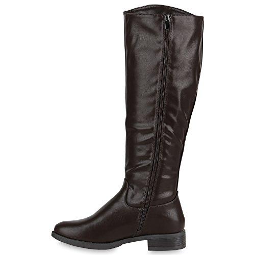 Stiefelparadies Warm Gefütterte Stiefel Damen Winterstiefel Damen Boots Schnallen Profilsohle Schuhe Kunstfell Winterschuhe Flandell Braun