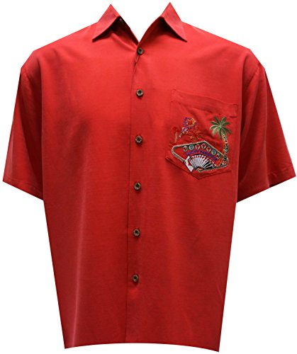Bamboo Cay Men's Embroidered Lucky Paradise Tropical Style Camp Shirt (X-Large, Tomato) by Bamboo Cay (Image #1)