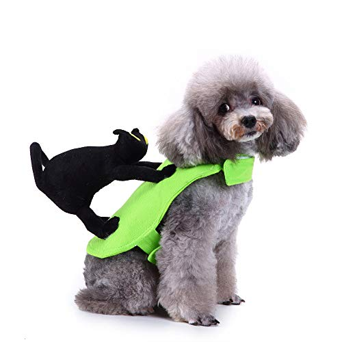 BingYELH Pet Dog Cat Halloween Black Cat Ride A Dog Costume Puppy Fancy Dress Costumes Outfit Dog Clothes