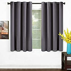 TEKAMON 99% Blackout Curtains 2 Panels Thermal Insulated Grommet Draperies Set, Room Darkening Panels for Living Room, Bedroom, Nursery (W52 X L63 per Panel, Dark Gray)