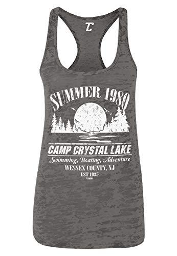 Summer 1980 Camp Crystal Lake Women's Racerback Tank Top (Charcoal, Medium) (Best Jason Voorhees Kills)