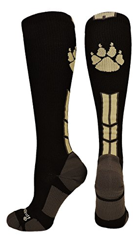 (MadSportsStuff Wild Paw Over The Calf Socks (Black/Vegas Gold, Medium))