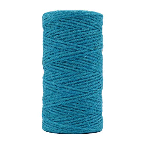 Tenn Well Jute Twine String, 335 Feet 2mm Jute Rope Gift Twine Packing String for Craft Projects, Wrapping, Gardening Applications (Turquoise Blue) ()