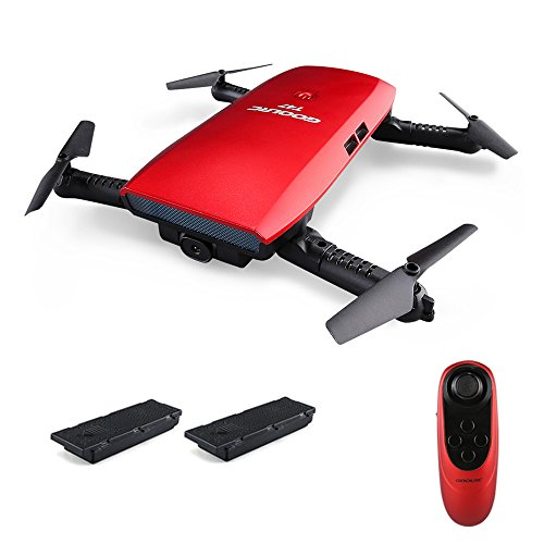 GoolRC T47 FPV Drone Foldable with WiFi Camera Live Video 2.4G 4 Channel 6 Axis Gravity Sensor RC Selfie Quadcopter RTF with 2 Batteries