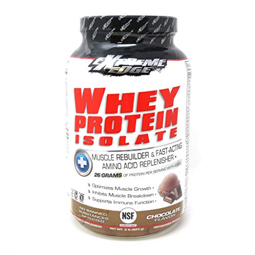Bluebonnet Nutrition Extreme Edge Whey Protein Isolate Powder, Grass Fed Cows, 26 Grams of Protein, No Sugar Added, Non GMO, Gluten Free, Soy Free, Kosher Dairy, 2 lb, 28 Servings, Chocolate Flavor