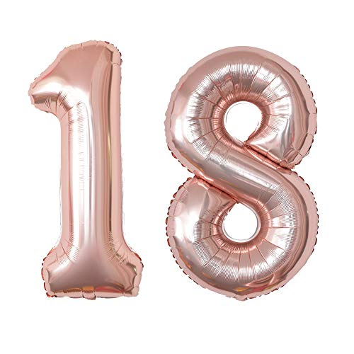 40 Inch Jumbo Rose Gold 18 Number Balloon 18th Birthday Party Supplies Anniversary Events Graduation Decorations ()