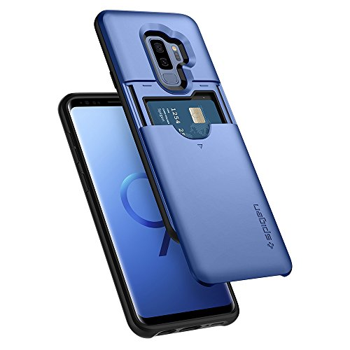 Spigen Slim Armor CS Galaxy S9 Plus Case with Slim Dual Layer Wallet Design and Card Slot Holder for Samsung Galaxy S9 Plus (2018) - Coral Blue
