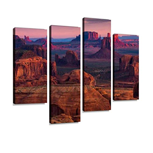 Hunts Mesa Navajo Tribal Majesty Place Near Monument Valley, Arizona, USA Canvas Wall Art Hanging Paintings Modern Artwork Abstract Picture Prints Home Decoration Gift Unique Designed Framed 4 Panel