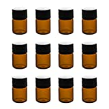 1ml (1/4 dram) Mini Amber Glass Vial Bottles with Orifice Reducer and Cap for Essential Oils, Chemistry Lab Chemicals, Colognes & Perfumes (12 Pack)
