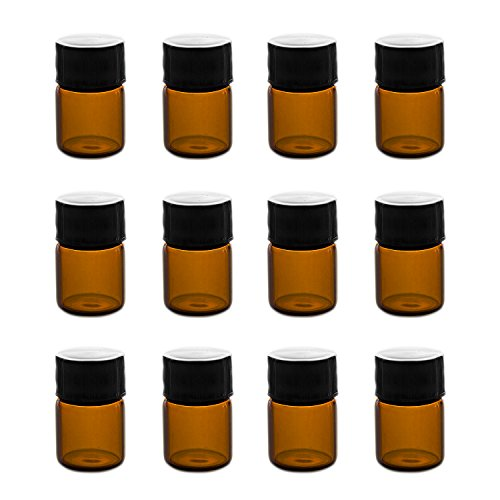 1ml (1/4 dram) Mini Amber Glass Vial Bottles with Orifice Reducer and Cap for Essential Oils, Chemistry Lab Chemicals, Colognes & Perfumes (12 Pack) (1ml Bottle)