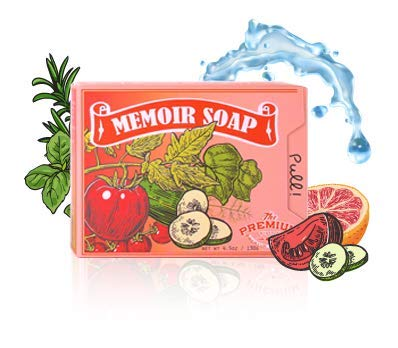 Memoir Natural Acne Treatment Soap for Sensitive Skin- Hyaluronic Acid, Tomato & Cucumber Extract, Grapefruit, Tea Tree & Eucalyptus Oil - Gentle Acne Cleanser, Body & Face Wash, Blackhead ()