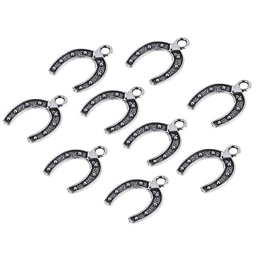 (Horseshoe Charms Connectors Lucky Horse Shoe Horse Drops Western Rodeo Theme Horseshoe Charms 18x18mm, 30pcs)