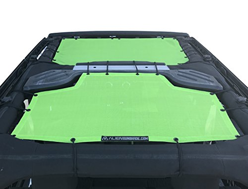 ALIEN SUNSHADE Jeep Wrangler 2-Piece Mesh Shade Top Cover with 10 Year Warranty Provides UV Protection for Front And Rear Passengers 4-Door JKU (2007-2017) (Green)