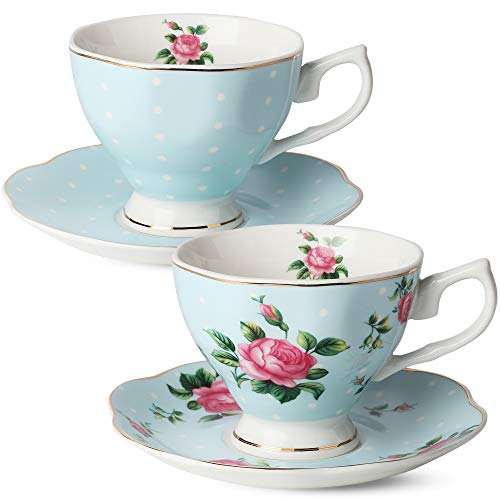 BTäT- Floral Tea Cups and Saucers, Set of 2 (Blue - 8 oz) with Gold Trim and Gift Box, Coffee Cups, Floral Tea Cup Set, British Tea Cups, Bone China Porcelain Tea Set, Tea Sets for Women, Latte Cups