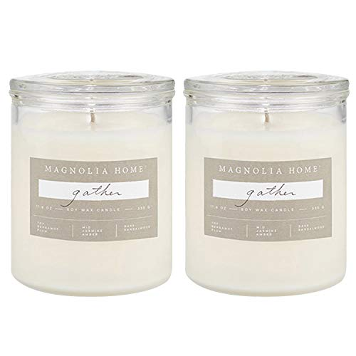 Magnolia Home Gather Scented Soy Wax 11.6 oz Glass Candle Jar with Lid by Joanna Gaines- Illume Pack of 2
