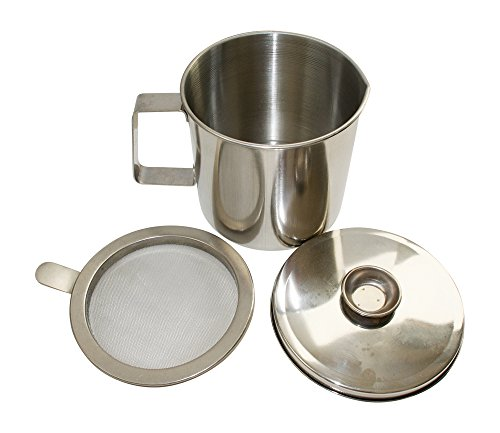 Basic Needs Bacon Grease Keeper Container with Strainer, Stainless Steel Oil Storage Catcher / Container for Kitchen
