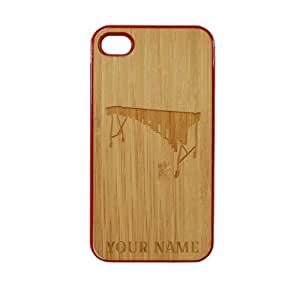 SudysAccessories Personalized Customized Custom Marimba On Wood Engraved Red iPhone 4 Case - For iPhone 4 4S 4G - Designer Real Bamboo Back Case Verizon AT&T Sprint(Send us an Amazon email after purchase with your choice of NAME)