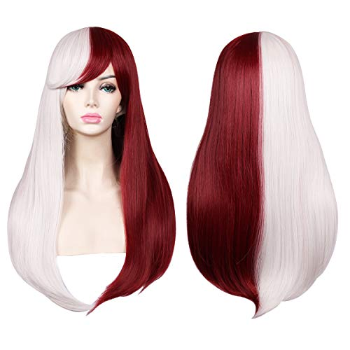 ColorGround Long Straight Silver White and Dark Red Cosplay -