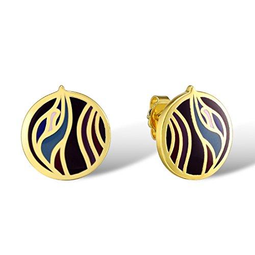 (Santuzza Gold Plated Colorful Handmade Enamel Swirl Circle Disc Handmade Enamel)