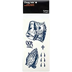 Thug Ink Temporary Tattoos - 10 Temporary Tattoos ~ Teardrop, Cross, Praying Hands, etc.