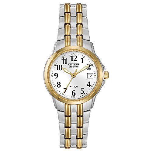 - Citizen Women's Silver and Gold Tone Eco-Drive Watch with Date, EW1544-53A