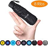 Fidus Upgraded 8 Ribs Mini Portable Sun&Rain Lightweight Windproof Umbrella - Compact Parasol Outdoor Travel Umbrella for Men Women Kids-Black