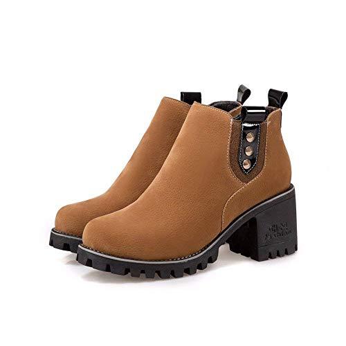 Eu 's Automne Deed Rondes Femmes Rivets Talon Bas Chaussures Tête Hiver Bottes 37 88Ax5wg7q