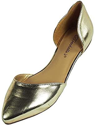 Breckelle's Womens Faux Leather D'Orsay Pointed Toe Flats